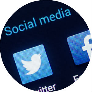 Close Up of Twitter and Facebook Social media Icons