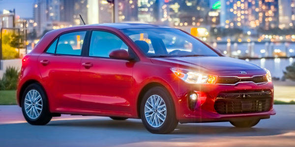 Red 2018 Kia Rio %-Door Front Exterior