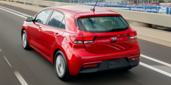 Red 2018 kia rio 5-Door Rear Exterior