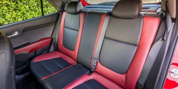 Red and Black 2018 Kia Rio Rear Seat Interior