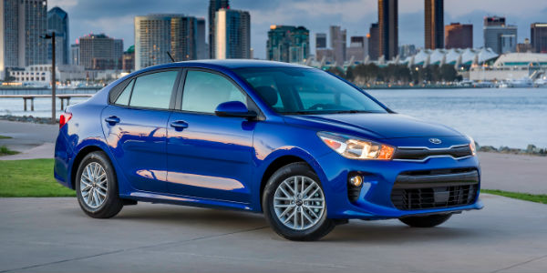 Blue 2018 Kia Rio Sedan on Waterfront