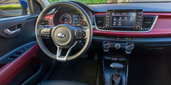 Red and Black 2018 Kia Rio Interior
