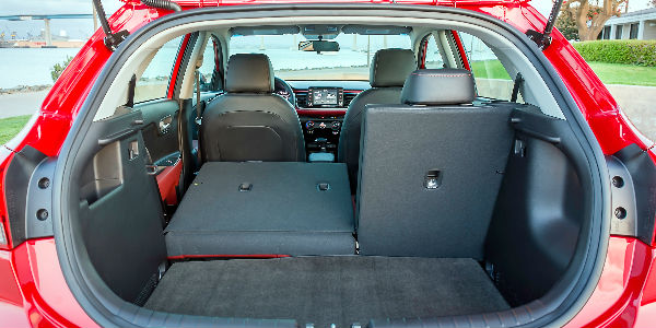 Red 2018 Kia Rio Hatchback Rear Cargo Space