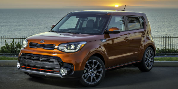 Orange 2017 Kia Soul Next to Water
