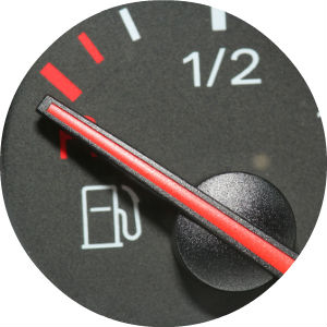 Close Up of Fuel Gauge with Needle on Empty