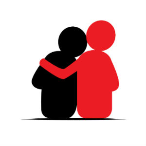 Red and Black Silhouettes Hugging
