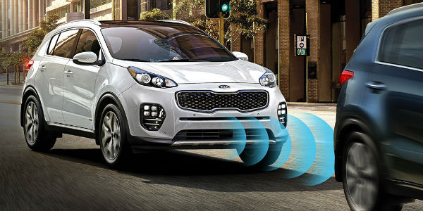 White 2018 Kia Sportage with Autonomous Emergency Braking Diagram