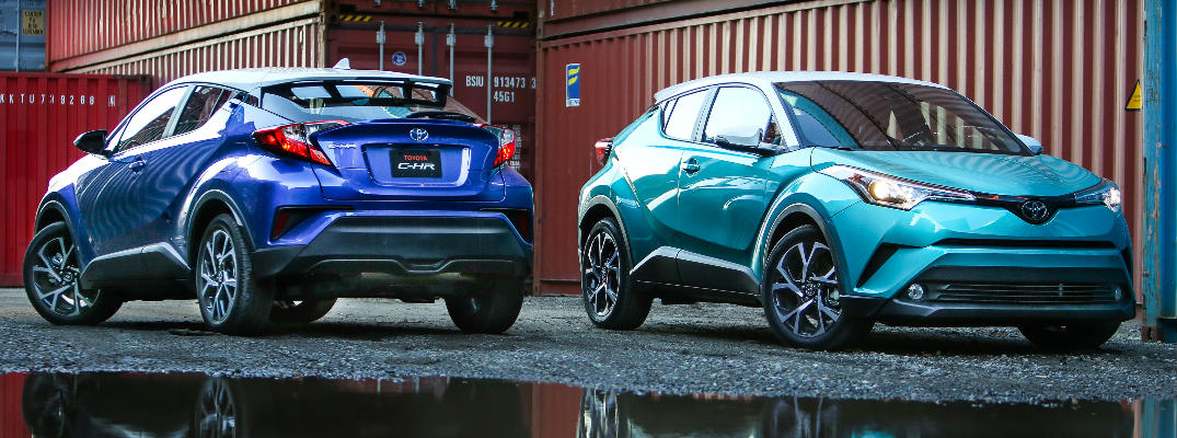 Two Toyota C-HR models side by side