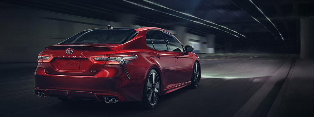2018 Toyota Camry model from the rear
