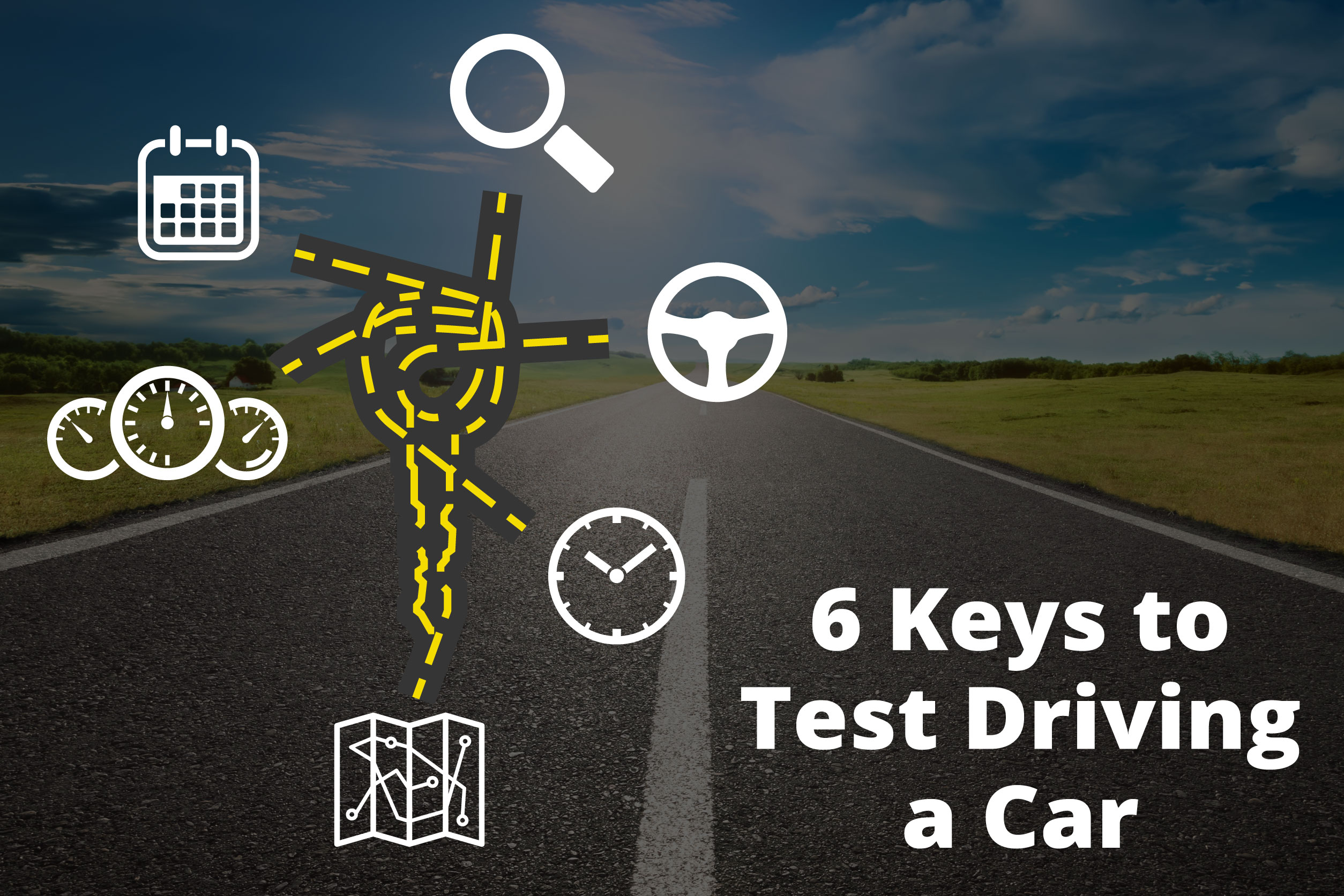 """A custom image of a road with the text """"6 Keys to Test Driving a Car"""""""