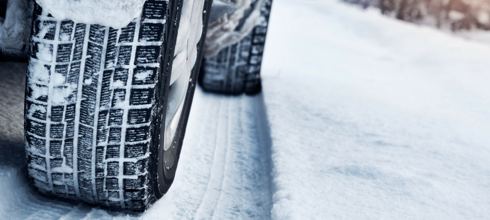 tires prepared for winter driving through snow after installation