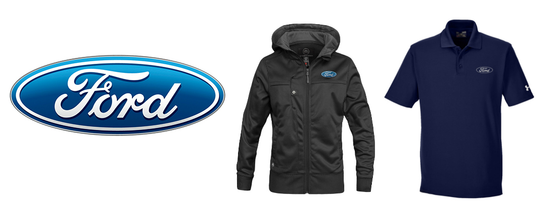Ford logo with black Ford jacket and blue Ford polo