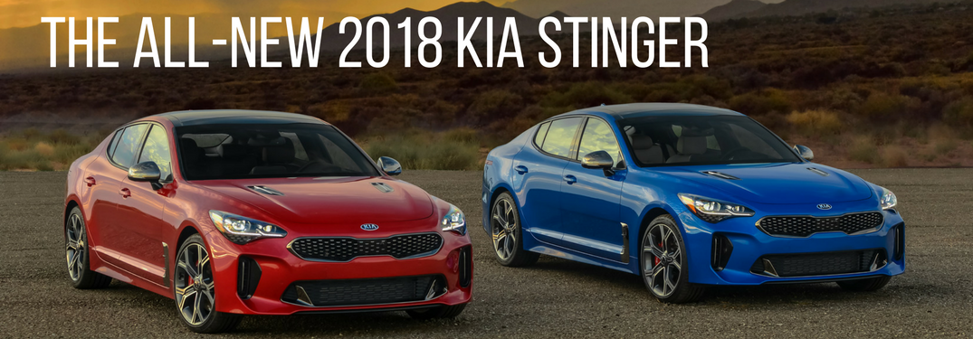 2018 kia stinger blue and red models full view