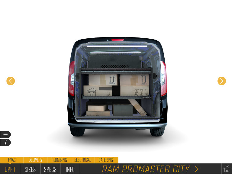 Ram Commercial Van upfitting options demonstrated by the Ram Augmented Reality Upfit Configurator