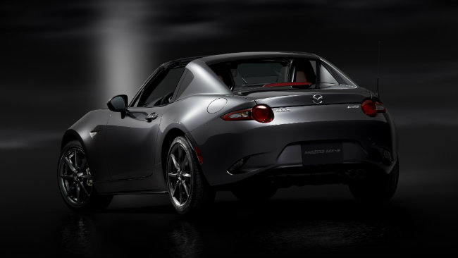 Mazda's new MX-5 RF model features fastback styling, a retractable rear window and a retractable hardtop roof.