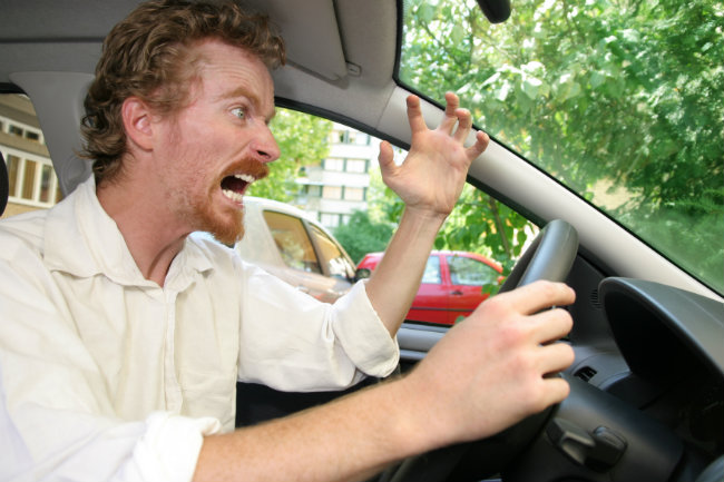 angry driver upset after car breaks down on the way to work