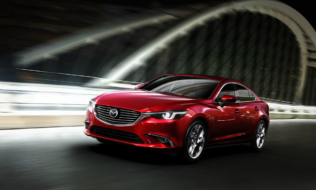 2016 mazda 6 exterior design features in red paint color