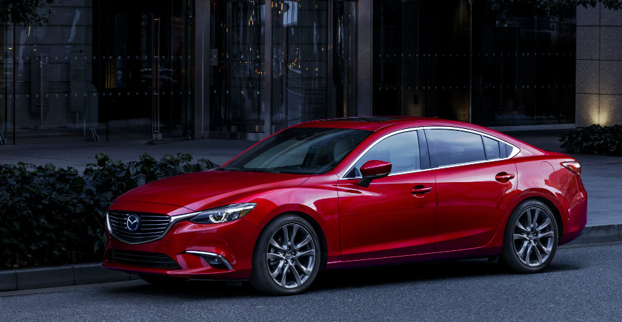2017 mazda6 in red parked on street