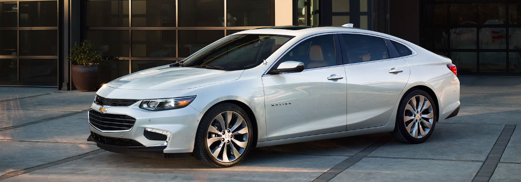 Drivers side exterior view of a silver 2018 Chevrolet Malibu