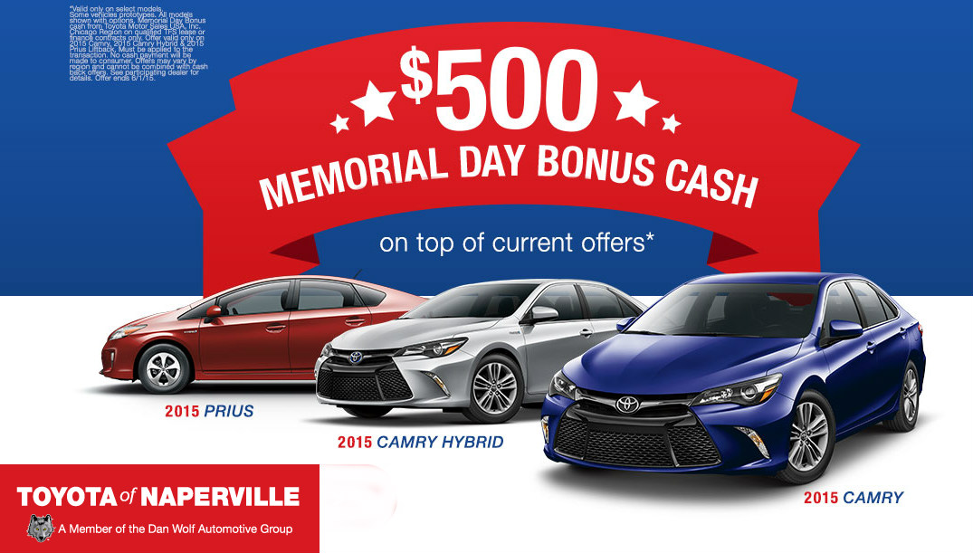 Memorial Day Toyota bonus cash offer