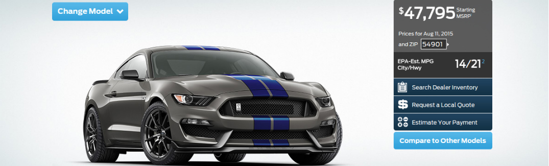 2016 ford mustang shelby gt350 configurator is launched - 2016 Ford Mustang Gt350