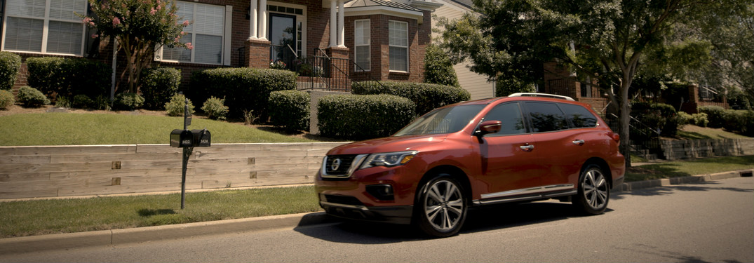 2018 Nissan Pathfinder parked in front of house