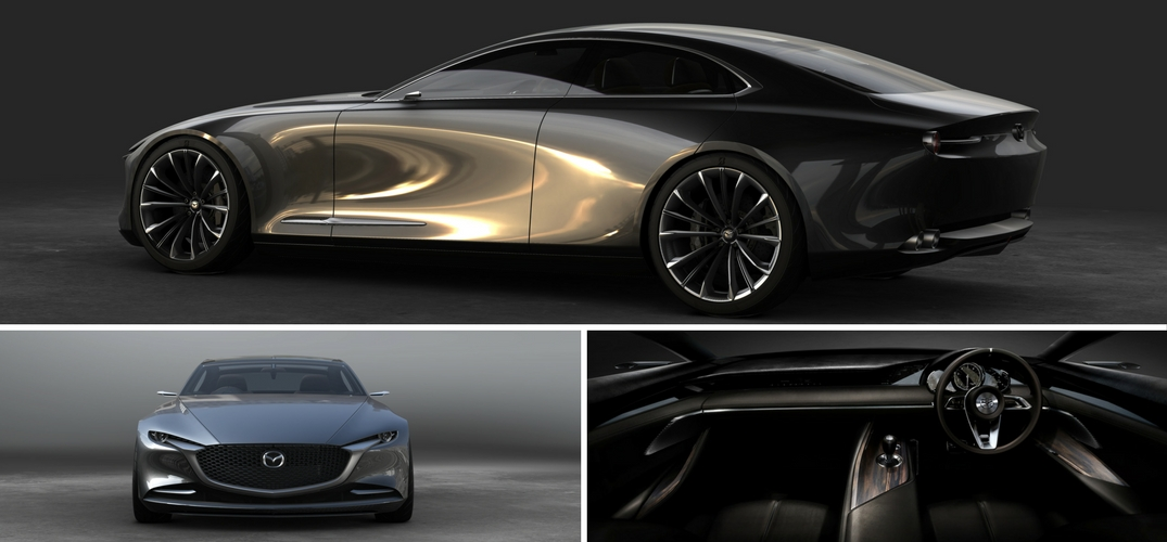 Mazda-Vision-Coupe-collage-with-two-exterior-photos-and-one-interior-photo
