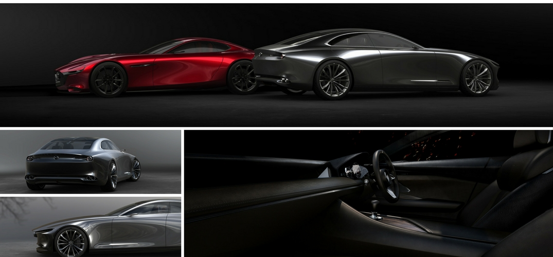 New-Mazda-Vision-Coupe-collage-of-three-exterior-photos-from-side-and-rear-and-one-interior-photo