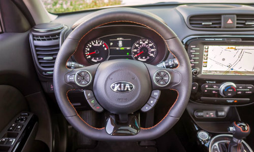 kia soul turbo leather wrapped d shaped steering wheel