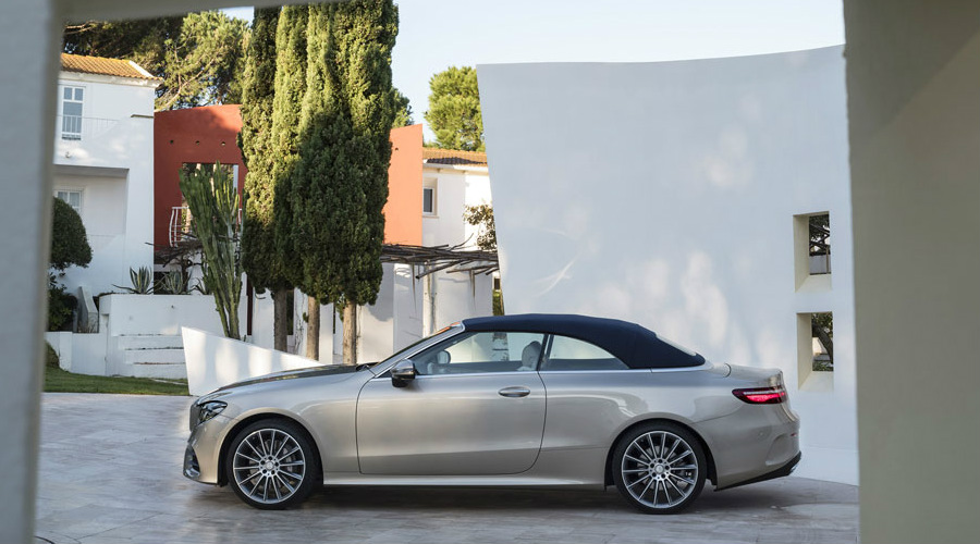 Silver 2018 Mercedes-Benz E-Class Cabriolet with the soft top up