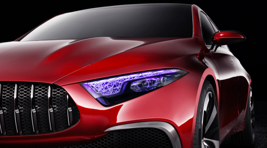 UV painted headlamps on 2018 Mercedes-Benz Concept A Sedan