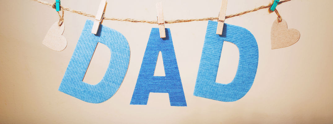 Blue Cutout Letters Spelling out Dad on Clothes pins - Father's Day Dinner 2017 near Brunswick GA