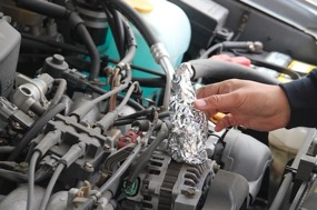 foil cone test - how to cook food on car engine