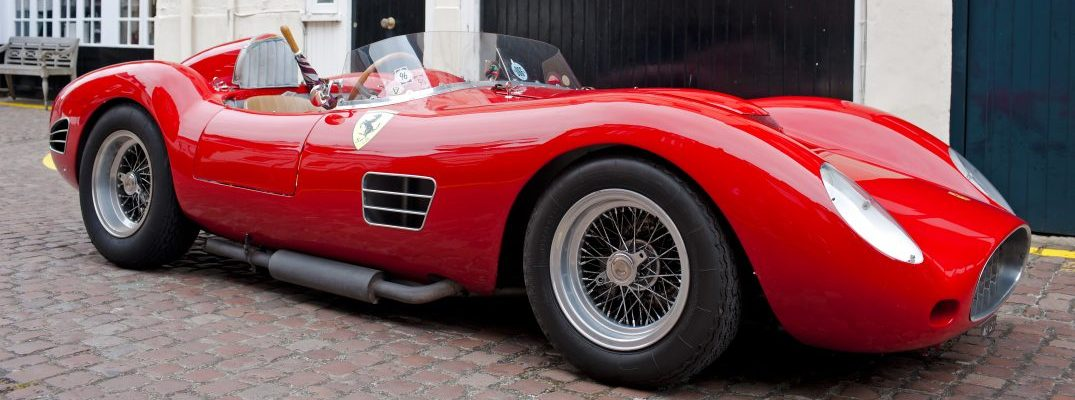 A 1958 196S Ferrari stands on static display in Adam & Eve Mews on July 10, 2014 in London. The company was founded in 1929 by Enzo Ferrari and employees around 2700 personnel