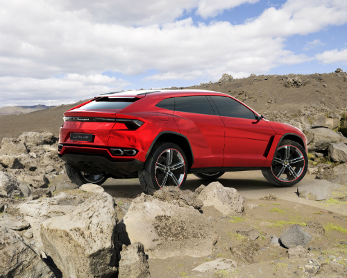 2018 Lamborghini Urus SUV driving through rocks