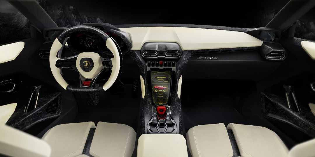2018 Lamborghini Urus SUV interior dash steering wheel and control cluster
