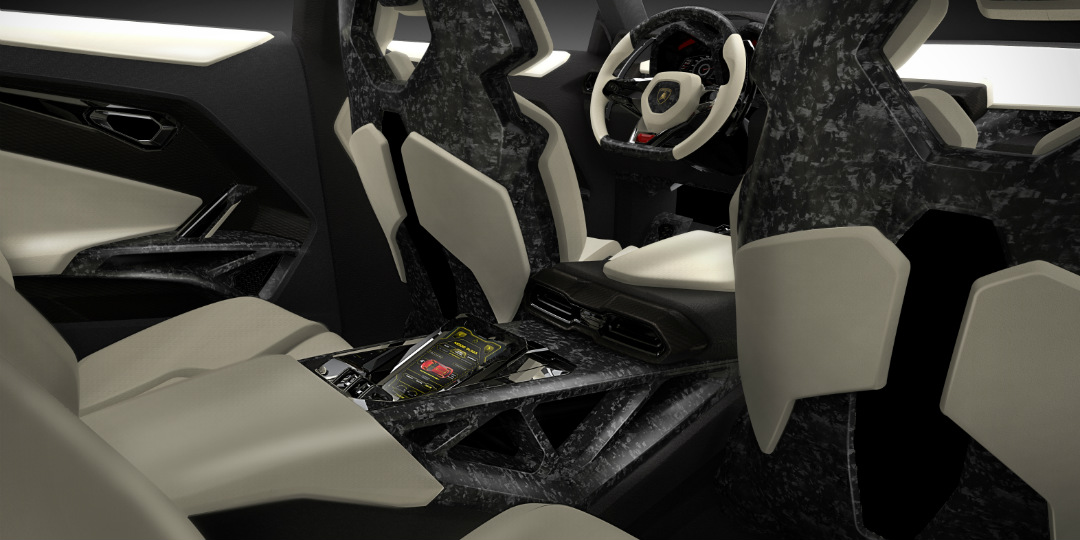2018 Lamborghini Urus SUV interior with back seats