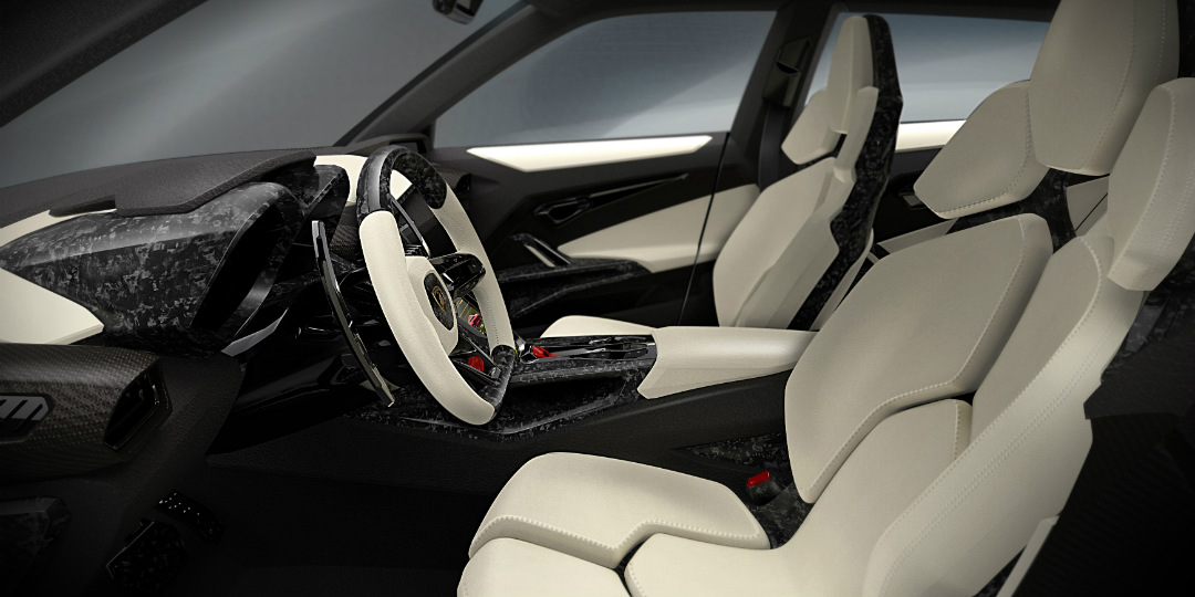 2018 Lamborghini Urus SUV interior with tan leather seats