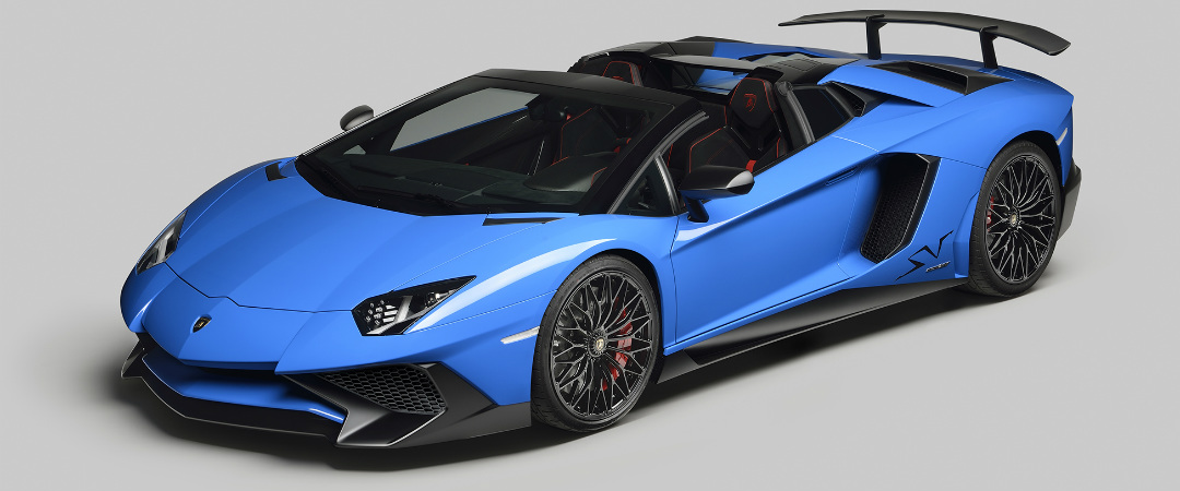 Lamborghini Aventador SV Roadster top off blue
