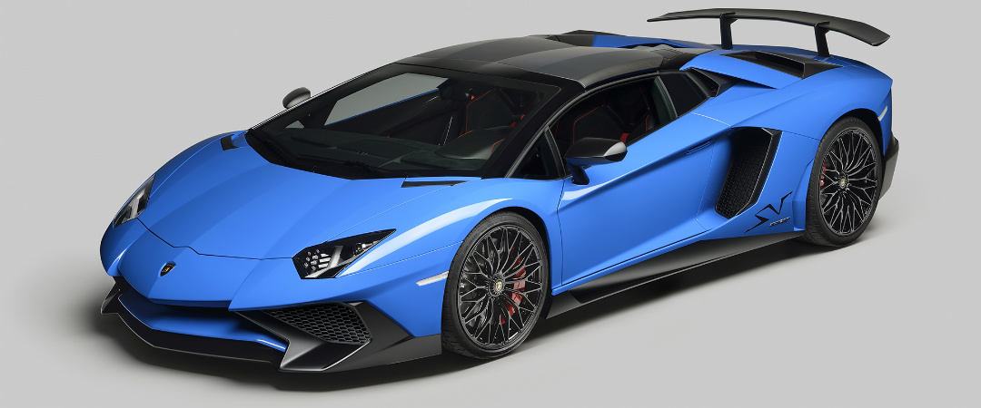 Lamborghini Aventador SV Roadster top on blue