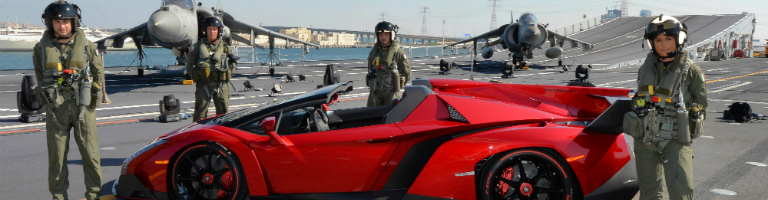 Lamborghini Veneno Red Unveiling On A Aircraft Carrier