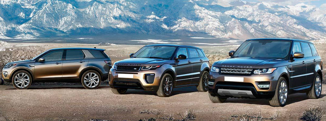 Lineup of 3 Land Rovers including 2017 Land Rover Range Rover in Front of Mountains