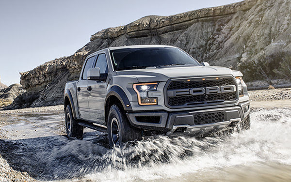 2017 Ford Raptor traveling through water