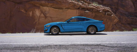 2017 Ford Mustang blue side