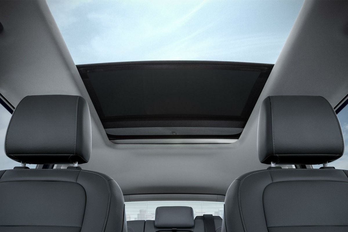 Looiking out the moonroof of the 2017 Ford Escape