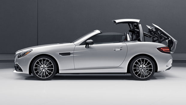2018 Mercedes Benz SLC With Retractable Hardtop In Process Of Going Down