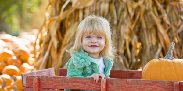 Pumpkin Patches Near Portland, OR Girl in Wagon