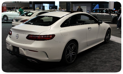 2018 Mercedes-Benz E-Class Coupe side view Chicago Auto Show