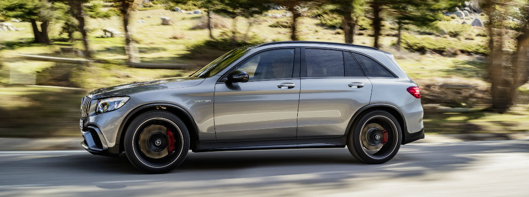 Gray 2018 Mercedes-AMG GLC63 SUV on Country Road