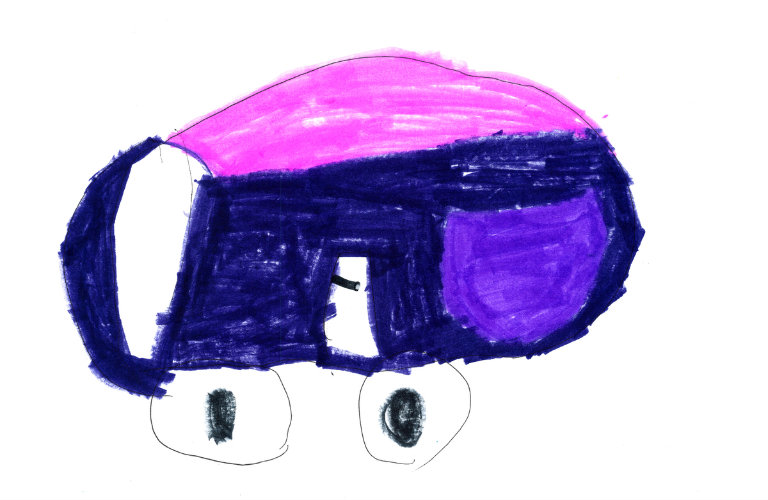 blue pink and purple child's sketch of the 2018 Honda Odyssey with wheels that look like eyes